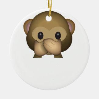 Cute Speak No Evil Monkey Emoji Christmas Ornament