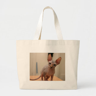 "Cute sphynx kitten ""I'm furless, are you?"" Large Tote Bag"