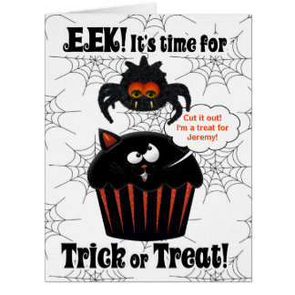 Cute Spider and Cupcake | Custom Halloween Big Greeting Card