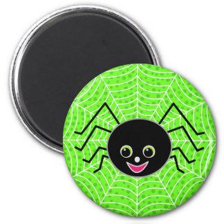 Cute Spider on Web 6 Cm Round Magnet
