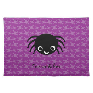 Cute spider purple skulls pattern placemat