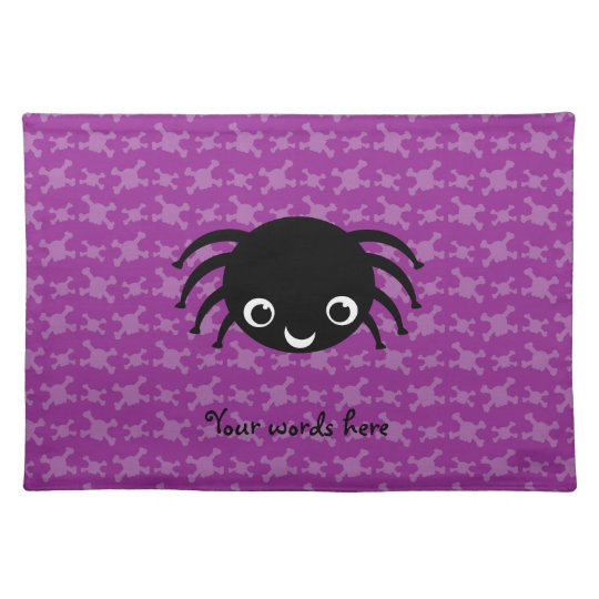 Cute spider purple skulls pattern placemat