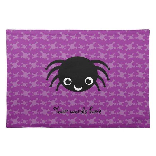 Cute spider purple skulls pattern placemats