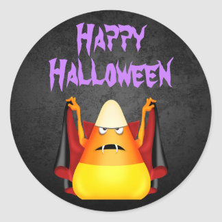 Cute Spooky Candy Corn Happy Halloween Classic Round Sticker
