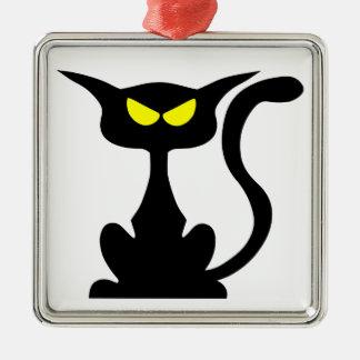 Cute spooky cat. Silver-Colored square decoration