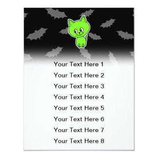 Cute Spooky Green Cat with Bats. 11 Cm X 14 Cm Invitation Card