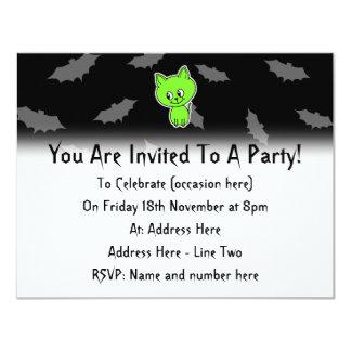 Cute Spooky Green Cat with Bats. 11 Cm X 14 Cm Invitation Card