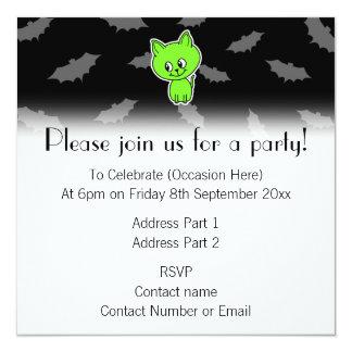 Cute Spooky Green Cat with Bats. 13 Cm X 13 Cm Square Invitation Card