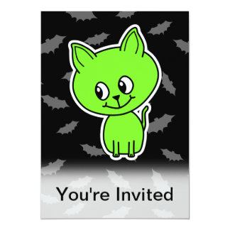 Cute Spooky Green Cat with Bats. 13 Cm X 18 Cm Invitation Card