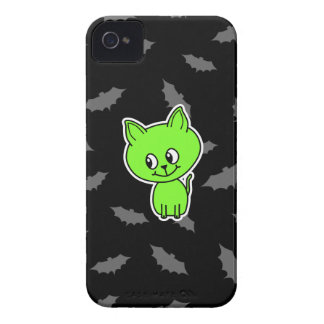 Cute Spooky Green Cat with Bats iPhone 4 Cases