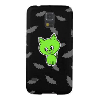 Cute Spooky Green Cat with Bats. Cases For Galaxy S5