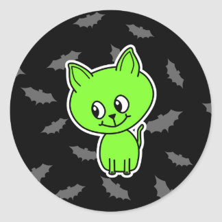 Cute Spooky Green Cat with Bats. Classic Round Sticker