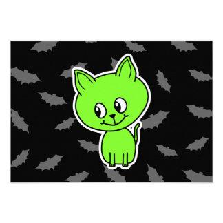 Cute Spooky Green Cat with Bats Custom Invitations