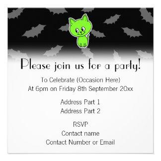 Cute Spooky Green Cat with Bats Custom Invite