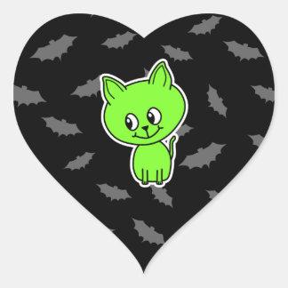 Cute Spooky Green Cat with Bats. Heart Sticker