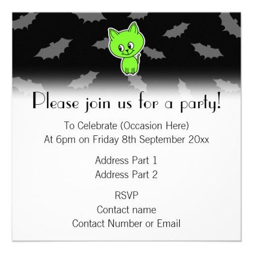 Cute Spooky Green Cat with Bats. Custom Invite