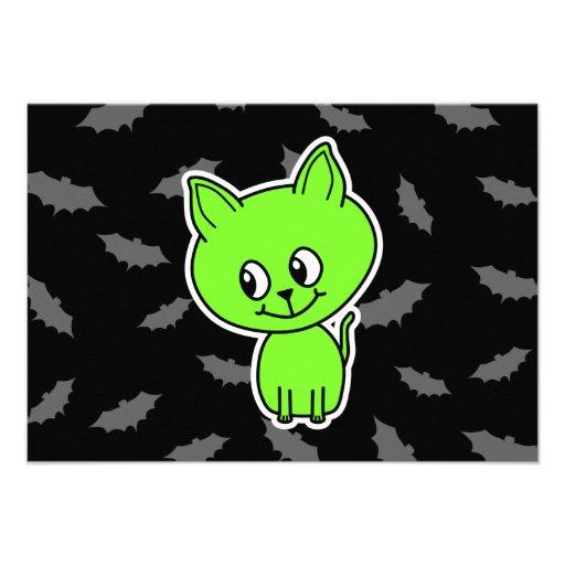 Cute Spooky Green Cat with Bats. Custom Invitations