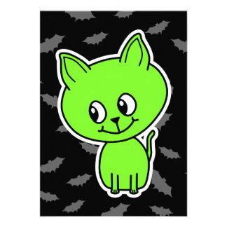 Cute Spooky Green Cat with Bats Personalized Invites