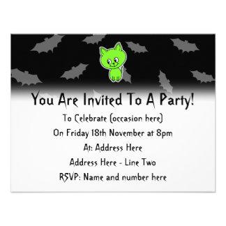 Cute Spooky Green Cat with Bats. Invitation