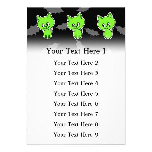 Cute Spooky Green Cat with Bats. Custom Announcement