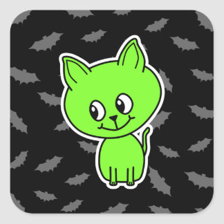 Cute Spooky Green Cat with Bats. Square Stickers
