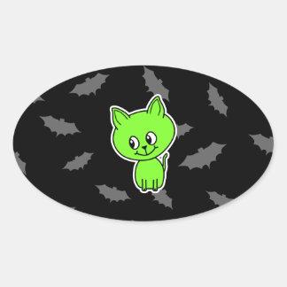 Cute Spooky Green Cat with Bats. Sticker