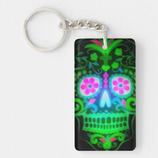 Cute Spooky Halloween Day of Dead Sugar Skull Double-Sided Rectangular Acrylic Key Ring