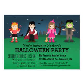 Cute Spooky Monsters Halloween Party Card