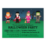 """Cute Spooky Monsters Halloween Party 4.5"""" X 6.25"""" Invitation Card"""