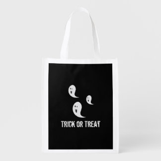 Cute Spooky Smiley Halloween Trick or Treat Ghosts Reusable Grocery Bag