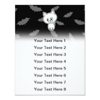 Cute Spooky White Cat and Bats. 11 Cm X 14 Cm Invitation Card