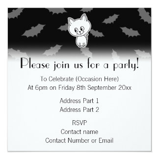 Cute Spooky White Cat and Bats. 13 Cm X 13 Cm Square Invitation Card