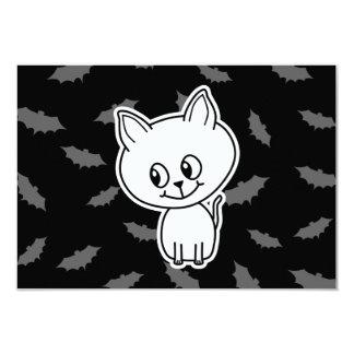 Cute Spooky White Cat and Bats. 9 Cm X 13 Cm Invitation Card