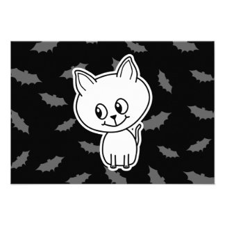 Cute Spooky White Cat and Bats Announcements
