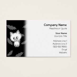 Cute Spooky White Cat and Bats. Business Card