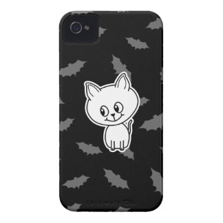 Cute Spooky White Cat and Bats. iPhone 4 Case-Mate Cases