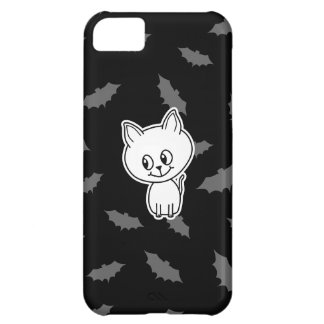 Cute Spooky White Cat and Bats iPhone 5C Cases