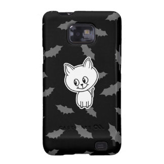 Cute Spooky White Cat and Bats Galaxy SII Case