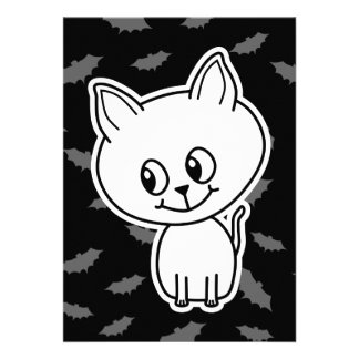 Cute Spooky White Cat and Bats Custom Invitations