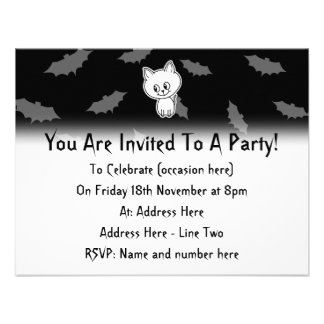 Cute Spooky White Cat and Bats Personalized Invitations