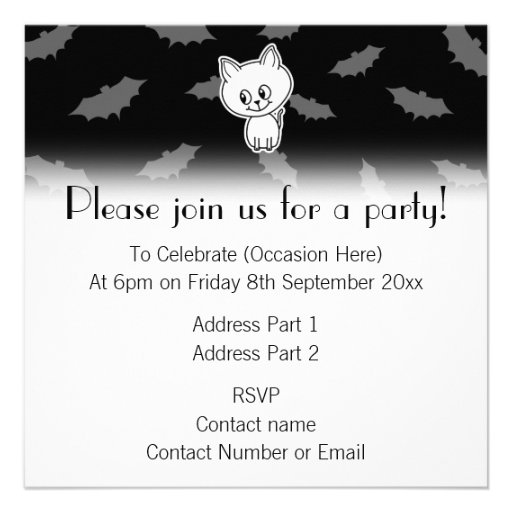 Cute Spooky White Cat and Bats. Custom Announcements