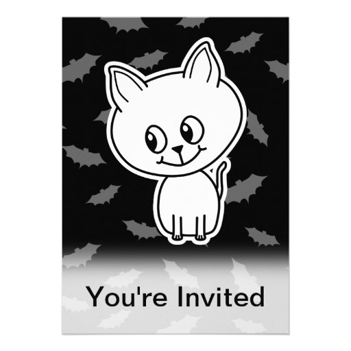 Cute Spooky White Cat and Bats. Custom Invitations