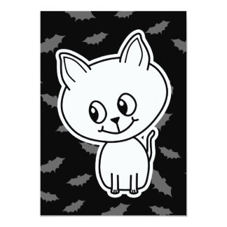 "Cute Spooky White Cat and Bats. 5"" X 7"" Invitation Card"