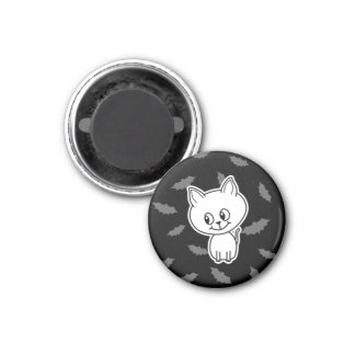 Cute Spooky White Cat and Bats Refrigerator Magnets
