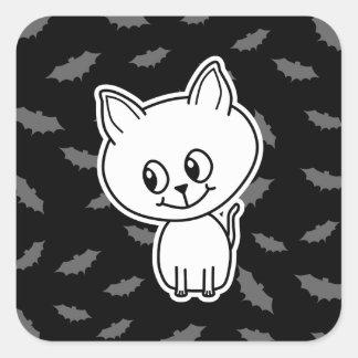 Cute Spooky White Cat and Bats. Sticker