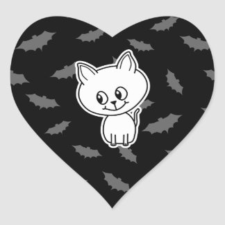 Cute Spooky White Cat and Bats. Heart Stickers