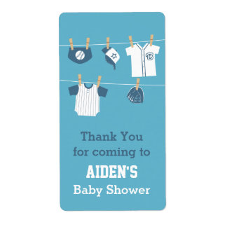 Cute Sports Clothes Baseball Baby Shower Labels