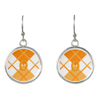 Cute Sporty Orange Peach White Argyle Monogrammed Earrings