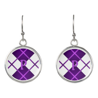 Cute Sporty Purple Grape White Argyle Monogrammed Earrings