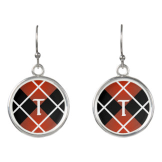 Cute Sporty Red White Black Argyle Monogrammed Earrings